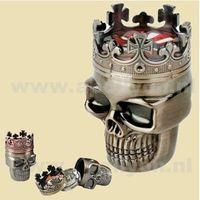 Grinder métal Roi Skull Tabac en Metal Grinder 3-Part Spice Crusher main Muller magnétique avec tamis