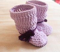 Baby crochet puff shoes snow booties ankle loops bow tie 0- 1...