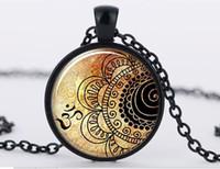 1Pcs mandala necklaces glass dome yoga pendant om symbol bud...