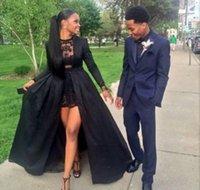 2016 Black Arabic Nigerian Two Pieces Celebrity Dresses Lace...