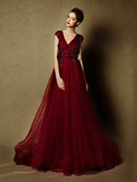 Marsala Wine Red Long Prom Dresses with Illusion Cap Sleeves...