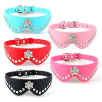 1 2 inch Width PU Leather Rhinestone Dog Pet Puppy Collars 5...