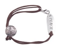 10PCS Fashion Brown Cord PEACE Word ID Bracelet #91225