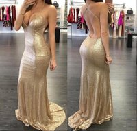2016 Bling Backless Sequins Mermaid Prom Dresses Arabic Spag...