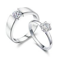 Meilleur cadeau Bijoux Argent 925 Amant Bague Fashion Couple cubique zircon Fit cadeau de mariage Hommes Femmes Anneau 10pcs de bijoux / lot