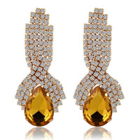 Fashion gold Wedding Earrings Long Crystal Water Drop Big Ea...