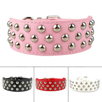 "(3 colors) 2"" wide Studded Leather Dog Collars for Germ..."