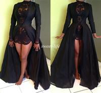 Черные Высокая Низкая Пром платья с длинным рукавом Кружева Sheer Высокая шея-Line 2015 Арабский вечерние платья Дешевые Сексуальная партия королевы платья