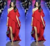 Red Elie Saab Runway Prom Dresses 2016 One- Shoulder Ruffle S...