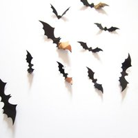 Fashion Hot 12pcs / set Noir 3D DIY PVC Bat Mur Autocollant Decal Accueil Halloween Décoration