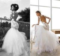 Dreamlike Flower Backless Lace Mermaid Wedding Dresses 2015 ...