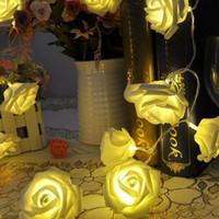 20 светодиодных роза цветок фея строки огней свадебный сад партии рождественские украшения