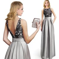 2016 New Silver Lace Satin Evening Dresses Sexy Appliques Ba...