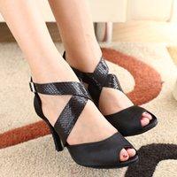 Wholesale- 2015 Fashion Black Satin Latin dance shoes adult s...