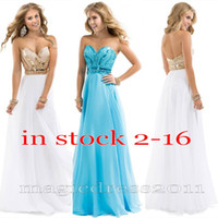 2015 IN STOCK White Blue Beaded Prom Evening Gowns with Back...