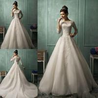 Vestidos De Novia 2016 года Амелия Sposa Свадебные платья с длиной 3/4 Длинные рукава пола линия плюс размер кружева свадебные платья AS1282