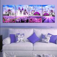 4 шт Бесплатная доставка украшений Картина на холсте Печать Фиолетовый Лаванда замок исламской архитектуры гора дерево водопад цветок