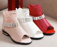 Girls Shoes Princess Girl Lace Floral Hollow Meshy Plaid San...