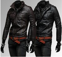 Men PU Leather Jackets Mens Fashion Clothing Outwears Collar...
