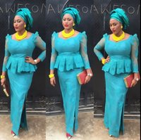 Асо Эби Light Blue Mermaid вечерние платья Sheer Нигерийский шнурка платье выпускного вечера Половина рукава Аппликации Side Pilit сексуальные вечерние платья Бесплатная доставка
