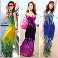 Verão Mulheres Imprimir Casual Bohemia mangas vestidos longos Girl Fashion Maxi Beach Dress 12% de desconto cantes oferta grátis