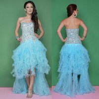 Luxury Formal 2014 Evening Backless Sky Blue Long High Low C...