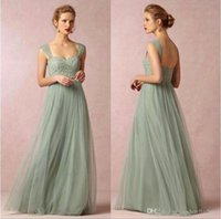 2015 Cheap Fall Sage Cap Sleeves Lace Bridesmaid Dresses Bac...