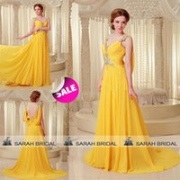 Luxury Yellow Chiffon Evening Gowns 2015 Sheer V- Neck Bling ...