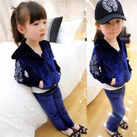 Girls Velour Rhinestone Outfits 2015 Spring Children Long Sl...