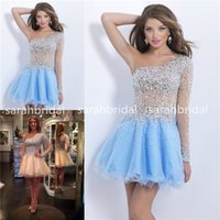 2015 Short Prom Dresses with Asymmetrical One Shoulder Strap...