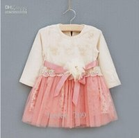baby girl kids long sleeve embroidery dress floral tutu dres...