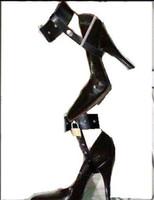 Leather High heels locking belt Bondage Restraint Gear Adult...
