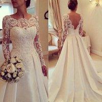 2015 Illusion Long Sleeve Lace Satin Wedding Dresses Sheer H...