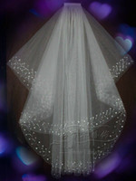 2 layer fingertip bridal veil white or ivory diamond bead we...