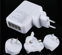 Commerce de gros de 4 Port USB Adaptateur secteur US / eu / UK / AU Branchez le Chargeur Mural pour iPhone 4S/5/5C/5S pour l'iPad 3/ 4/ air, mp3, mp4, Livraison Gratuite