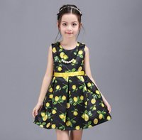 2016 Summer Baby Dresses Elegant Girls Fruit Lemon Pattern P...