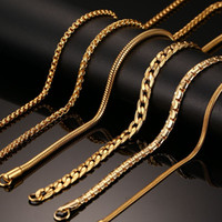18K Real Gold- Plated Necklace For Women Men Stainless Steel ...
