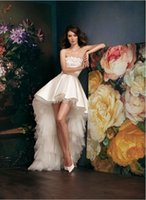 Fashionable 2015 High- Low A- Line Wedding Dresses Strapless F...