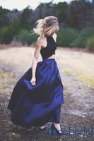 Royal Blue Растениеводство Топ из двух частей Платья для выпускного вечера рукавов Vintage High образным вырезом Длина пола длинное вечернее платья Женщины Формальные платье