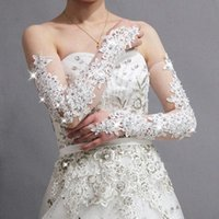 Luvas De Festa 2015 New Gorgeous Fingerless Lace Bridal Glov...