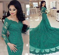 2017 Hunter Green Evening Dresses Sereia com mangas compridas Sexy V Neck Prom Dresses Lace Appliques Sweep Court Train