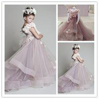 2015 Princess V- Neck Flower Girl Dresses Ruffles Cheap Girl ...