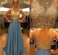 Cew Neck Crystal Beaded Bodice Open Back Chiffon Evening Dre...