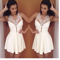 2015 White Summer Dress for Women With Lace Mni Dresses Slee...