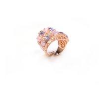 Bijoux fantaisie bague en argent sterling 925, de haute qualité, bague avec AAA CZ verre en pierre rose cadeau pour les femmes Anneaux pour la fête ou de vacances