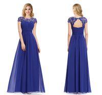 2016 Lace Chiffon Evening Dresses Long Lacey Neckline Open B...