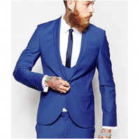 2015 Blue Male Suit Shawl Lapel One Button Tie Groomsman Tux...