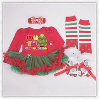 baby My 1st Christmas tutu rompers dress set Christmas Rompe...