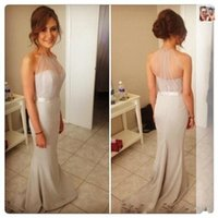 Fairy Style Sheer Crepe Halter Neck Wedding Bridesmaid Dress...