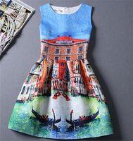 New Fashion Women Printed Vest Ruffle Princess Dresses Summe...